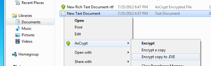 Select AxCrypt | Encrypt copy to .exe to make self-decrypting